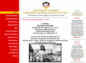 Southwest Florida Germanic Genealogy Society